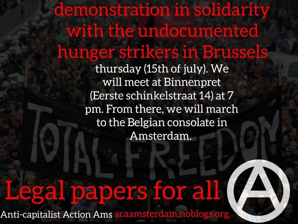 Demonstratie in solidariteit met de ongedocumenteerde hongerstakers in Brussel