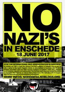 Stop nazi's in Enschede op 18 juni 2017